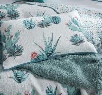 全棉绗缝被床上三件套 床盖式仙人掌空调水洗被