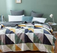 牛奶绒绗缝水洗被床盖式三件套 夏凉被床上用品厂家批发