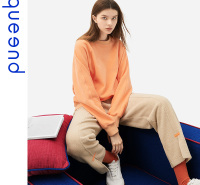 淳度家居服 可外穿休闲秋冬季摇粒绒宽松圆领不挑身型活力橘色套头居家服套装