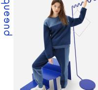 淳度queend家居服2020年新品秋冬季可出门长款休闲女士套装居家服睡衣