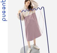 淳度2020年新款秋冬季长款过膝长袖立领可外穿睡裙