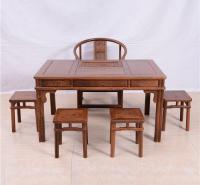 128茶桌圈椅圆角方凳六件套