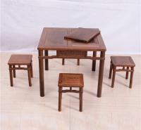 86茶桌圆脚方凳五件套