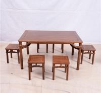 长方桌圆脚方凳五件套