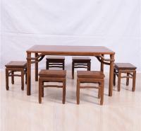 长方桌勾脚方凳五件套