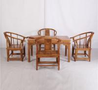 花梨128茶桌圈椅五件套