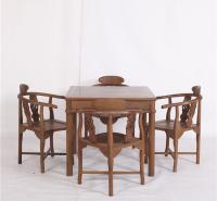 鸡翅木中式茶桌麻将桌 功夫茶桌椅组合 实木方桌五件套