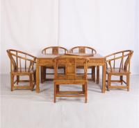 花梨145茶桌圈椅六件套