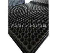 甲板垫 青岛凯东厂家促销船舶用橡胶垫 带孔可拼接疏水橡胶防滑垫1000*1000*16