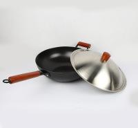 精铁炒锅 精铸铁少烟厨具 无涂层不粘炒锅