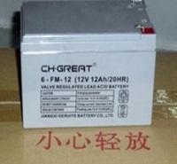 格瑞特蓄电池12V12AH 6-FM-12 铅酸免维护 UPS不间断备用电源