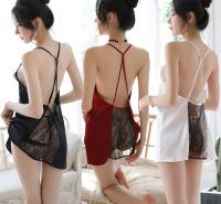 厂家供应新款热卖情趣内衣深V仿真丝性感透视露背吊带裙一件代发