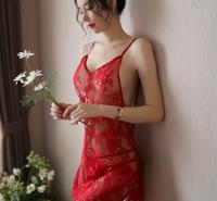 厂家现货直销V领露背透明大码吊带蕾丝睫毛睡裙情趣内衣性感睡衣