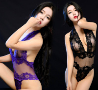 欧美热卖蕾丝网纱性感诱惑套装连体情趣内衣紧身包衣式一件代发