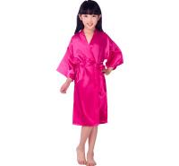 天宝工跨境改良儿童丝绸睡袍 素色夏季薄款开衫袍仿真丝睡袍