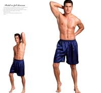 欧美加大男士睡裤 薄款色丁丝绸五分裤纯色平角裤宽松睡裤