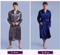 男士纯色长袍薄 改良开衫睡袍宽松大码长袖春秋睡袍