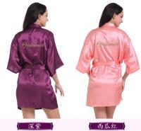 烫金粉Bridesmaid 伴娘晨袍 婚礼化妆袍女士薄款丝绸开衫袍