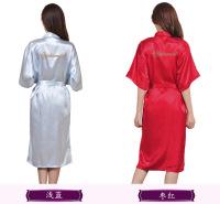 天宝工印字伴娘晨袍薄款色丁丝绸长款开衫袍