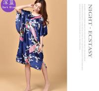 台州睡袍女士丝绸睡裙薄款睡袍夏季印花孔雀睡裙宽松仿真丝睡袍
