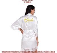 天宝工烫金Bride花边开衫浴袍仿真丝蕾丝开衫袍新娘化妆晨袍