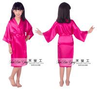 厂家供应睡袍可烫钻天宝工婚礼化妆晨袍花童仿真丝长款开衫袍