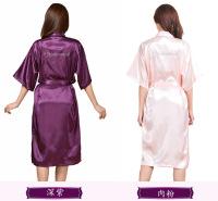 烫金睡袍纯色晨袍 杭州纯色晨袍 天宝工印字开衫袍供应