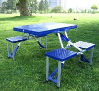 户外便携式折叠桌椅 连体桌椅 室外休闲桌椅 沙滩桌椅 塑料折叠桌椅