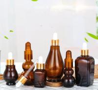 【厂家直销】批发_10ml茶色葫芦精油瓶_20ml棕色方玻璃滴管瓶_30ml单葫芦分装精油瓶化妆品瓶订制
