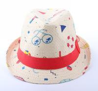 厂家定制出售韩版宝宝小礼帽 儿童桃心顶帽 男女童帽盆帽爵士帽圆顶翻边帽子