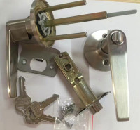 三柱式球锁 彩钢板门锁 塑钢门锁 三插把手锁