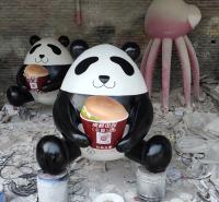 玻璃钢大熊猫摆件 卡通大熊猫雕塑餐厅门口装饰摆件