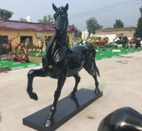 玻璃钢仿真骏马雕塑  黑马雕塑 八骏马雕塑品门口摆件