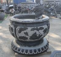 石雕青石鱼缸仿古做旧圆缸流水摆件 园林庭院装饰摆件