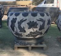 石雕鱼缸青石鱼缸石雕花盆 户外养鱼流水盆庭院石缸摆件