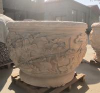 石雕鱼缸雕塑 晚霞红鱼缸花盆流水摆件园林庭院摆件