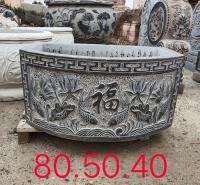 石雕鱼缸 大理石青石方缸 庭院园林装饰流水摆件