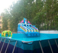 彩色充气水池 充气水池滑梯 加厚材质 品质保证