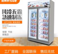 立式双门牛肉冷冻柜火锅底料展示柜玻璃门风冷商用杭州小雪冷柜