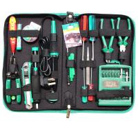 老A(LAOA)52件电讯维修组套钢丝钳尖嘴钳螺丝刀电烙铁剥线钳电子工具包套装 LA101352