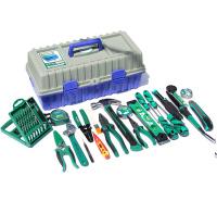 老A(LAOA)55件电工维修套装 钳子螺丝刀羊角锤卷尺电烙铁 电讯工具箱组套 LA105055
