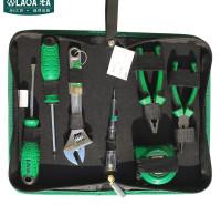 老A(LAO)7件套居家维修工具套装 螺丝刀活动扳手钢丝钳尖嘴钳卷尺组套 LA101807