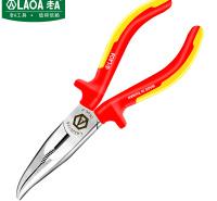 老A(LAOA)绝缘弯嘴钳6英寸 VDE耐压电工钳双色柄防电偏口钳子斜口钳 LA320116