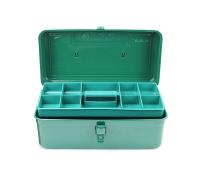 老A(LAOA) 铁皮工具箱收纳箱 加厚车载手提箱 双层箱子14英寸 LA113114