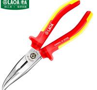 老A(LAOA)绝缘弯嘴钳8英寸 VDE耐压电工钳双色柄防电偏口钳子斜口钳 LA320118